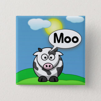 Moo 15 Cm Square Badge