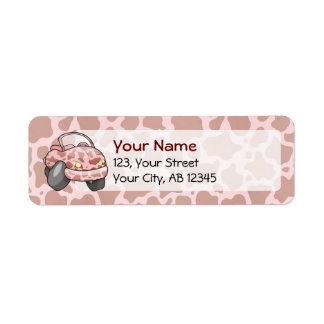 Moo Car Cartoon car with pink cow pattern. Custom Return Address Label