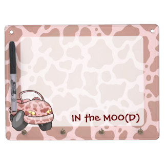 Moo Car Dry Erase Board With Key Ring Holder