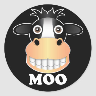 Moo - Classic Round Sticker, Glossy Round Sticker