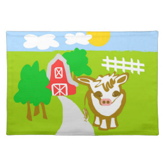 """Moo Cow Cotton Placemats  20"""" x 14"""""""