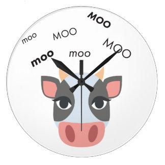 Moo Cow Cute Emoji Large Clock