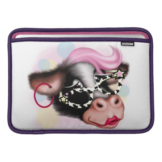 "MOO FACE COW CARTOON Macbook Air 11"" MacBook Air Sleeves"