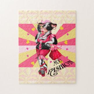 MOO FASHION COW CARTOON PUZZLE 11 X 14
