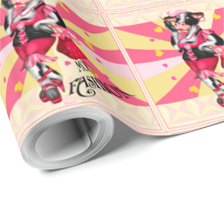 "MOO FASHION COW CARTOON Wrapping Paper 30"" x 30'"
