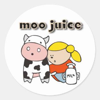 Moo Juice Round Stickers