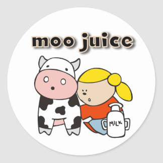 Moo Juice Round Stickers