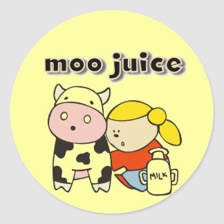 Moo Juice Tshirts and Gifts Round Sticker
