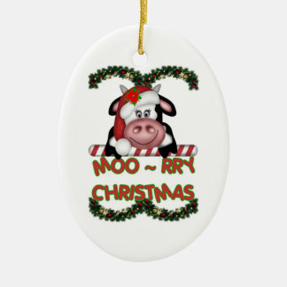 Moo-rry Christmas Cow ornament