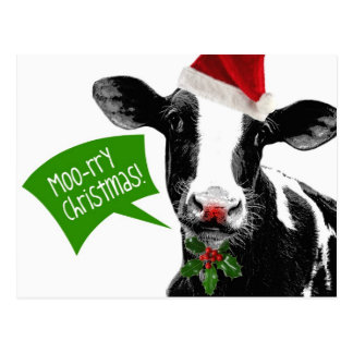 Moo rry Christmas! Funny Holiday Cow in Santa Hat