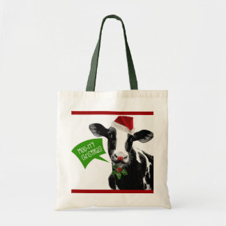 Moo rry Christmas! Funny Holiday Cow in Santa Hat Bag