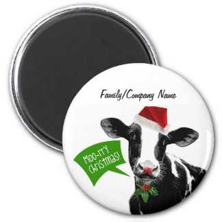 Moo rry Christmas! Funny Holiday Cow in Santa Hat 6 Cm Round Magnet