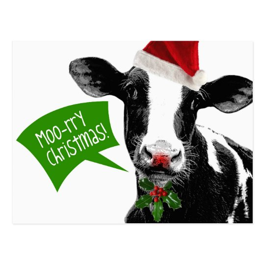 Moo rry Christmas! Funny Holiday Cow in Santa