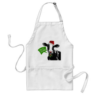 Moo rry Christmas! Funny Holiday Cow in Santa Hat Standard Apron