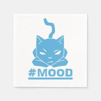#MOOD Blue Cat Illustration Paper Serviettes