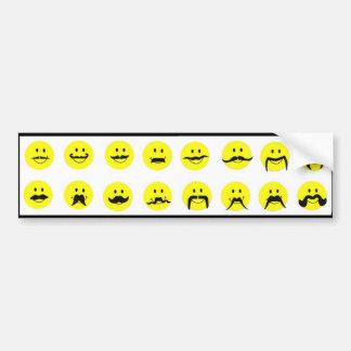 Moodstaches Smiley Face Mustache Bumper Sticker