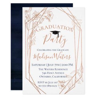 Moody Blue Geometric Graduation Invitation