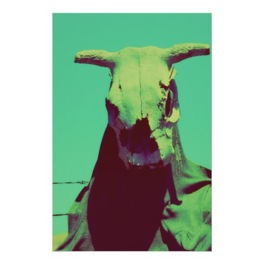Moody Cow Skull Poster