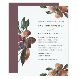 Moody Floral Wedding Invitation