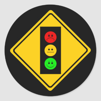 Moody Stoplight Ahead Round Stickers