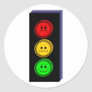 Moody Stoplight Extruded Round Sticker