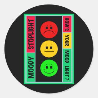 Moody Stoplight Logo Round Sticker