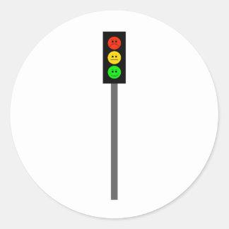 Moody Stoplight on Pole Classic Round Sticker