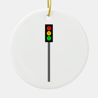 Moody Stoplight on Pole Round Ceramic Decoration