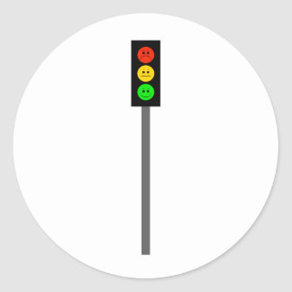 Moody Stoplight on Pole Round Sticker