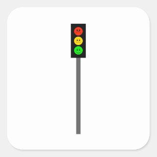 Moody Stoplight on Pole Square Sticker