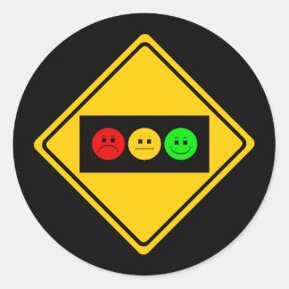 Moody Stoplight Trio Ahead Round Sticker