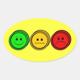 Moody Stoplight Trio Buttons Oval Sticker