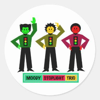 Moody Stoplight Trio Characters Round Sticker