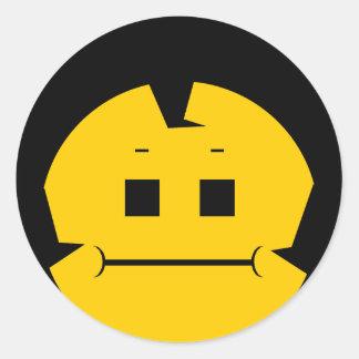 Moody Stoplight Trio Charlie Yellobellow Face Classic Round Sticker