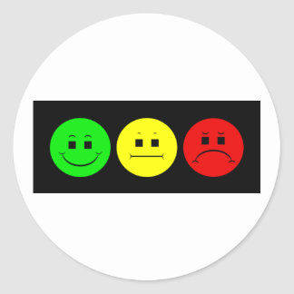 Moody Stoplight Trio Lefty Green Round Stickers