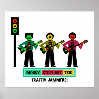 Moody Stoplight Trio Mustachio Guitar Players 2 Poster