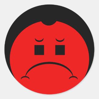 Moody Stoplight Trio Ron Buckstopper Face Round Sticker