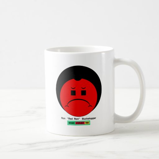 Moody Stoplight Trio Ron Buckstopper Face w Label Coffee Mugs