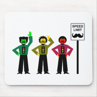 Moody Stoplight Trio Speed Limit Mustachio Mouse Mat