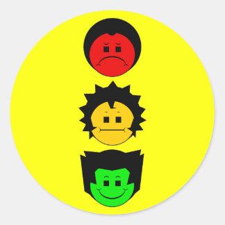 Moody Stoplight Trio Vertical Faces Round Sticker