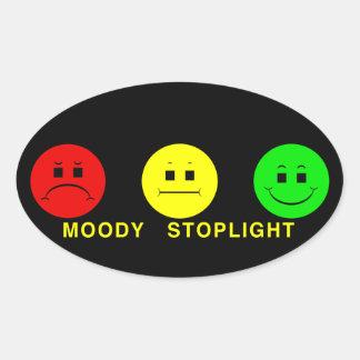 Moody Stoplight Trio with Caption Oval Sticker