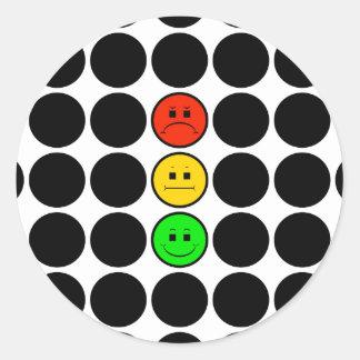 Moody Stoplight w Black Dots Round Sticker