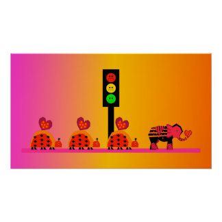 Moody Stoplight with Heart Caravan, Dreamy Backgnd Poster