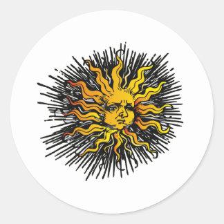 Moody Sun Round Sticker