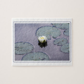 Moody Water Lily with Border Jigsaw Puzzle