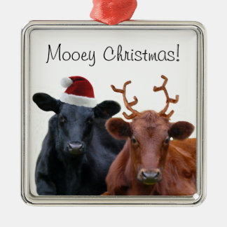 Mooey Christmas Holiday Costume Cattle Silver-Colored Square Decoration