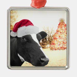 Mooey Christmas Winter Cow In Santa Hat Christmas Ornament