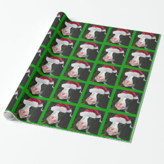Mooey Cow Santa Hat Christmas Wrapping Paper