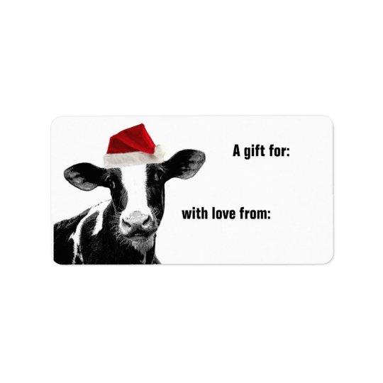 Mooey Merry Christmas Cow Santa Hat Address Label