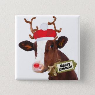 Mooey Merry Christmas Reindeer Cow 15 Cm Square Badge